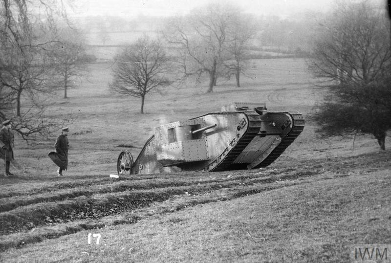 MINISTRY OF INFORMATION FIRST WORLD WAR OFFICIAL COLLECTION (Q 14495) 'Mother' or 'Big Willie' on test in Burton Park, Lincoln, January 1916. Copyright: © IWM.